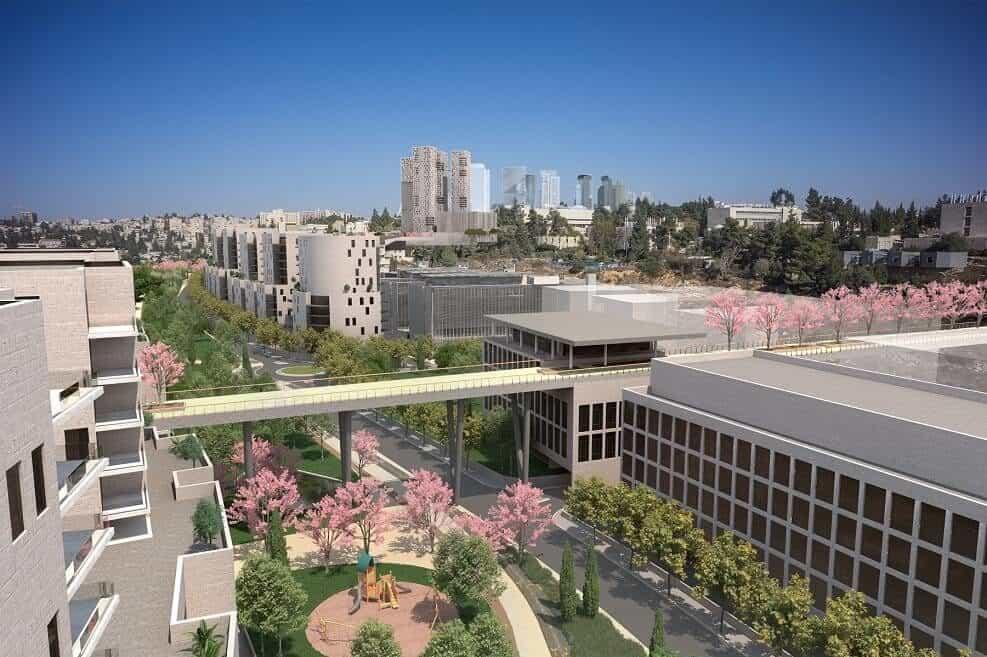 """הפרויקט החדש מעל דרך בגין בירושלים // באדיבות """"דגן פתרונות ויזואליים מתקדמים"""""""