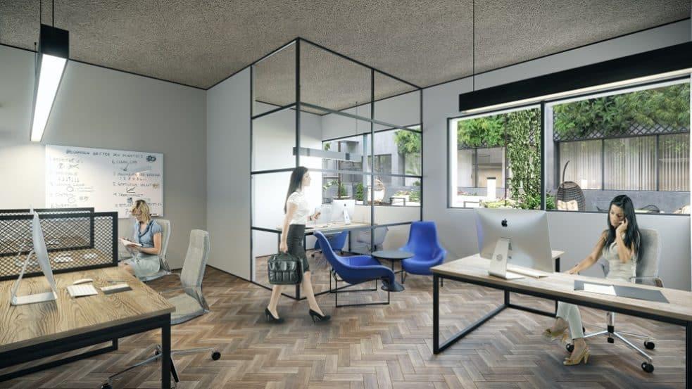 """מיזם הנדל""""ן של קבוצת פסגות ישראל, My Office באשדוד // הדמיות: דיגיטל קלאוד"""