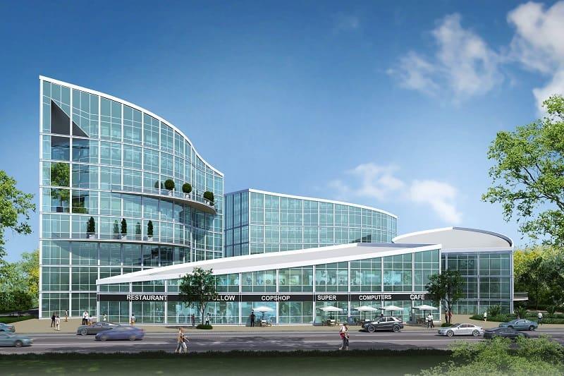 הדמיית מרכז העסקים החדש של אילה אגם שיוקם במודיעין // איי איי הדמיות