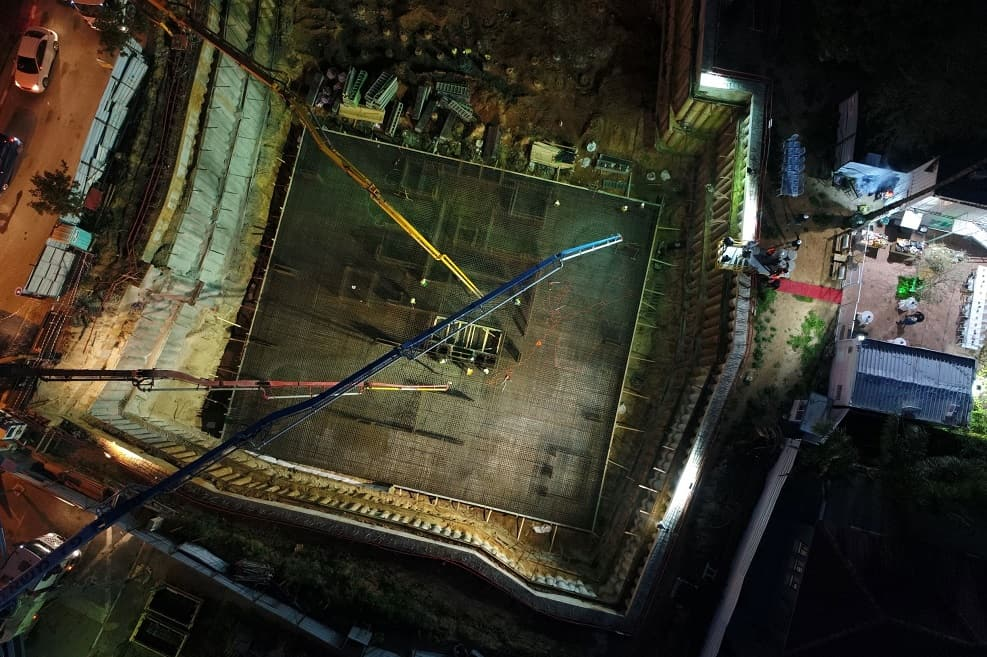 יציקת הרפסודה // צילום: לביא צילומי אוויר