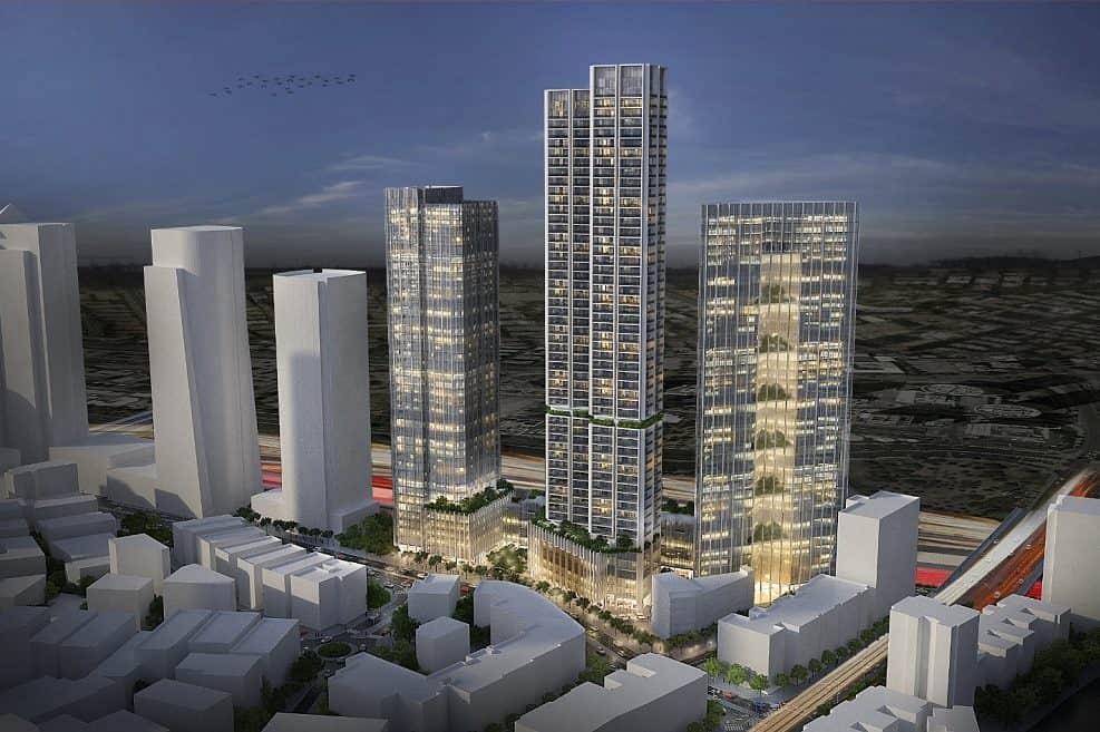 הדמית המגדלים המתוכננים בר״ג // תכנון: ישר אדריכלים