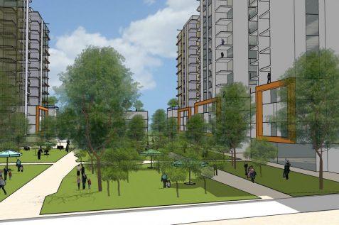 הדמיית הפרויקט של קבוצת כתב בשכונת גיורא // תכנון: כנען שנהב אדריכלים