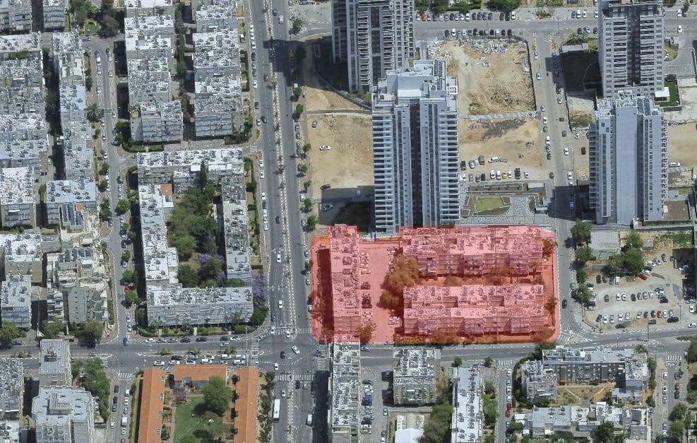 תוכנית פיכמן ההסתדרות - מבט ממערב, צילום אלכסוני. תכנון אלונים - גורביץ אדריכלים