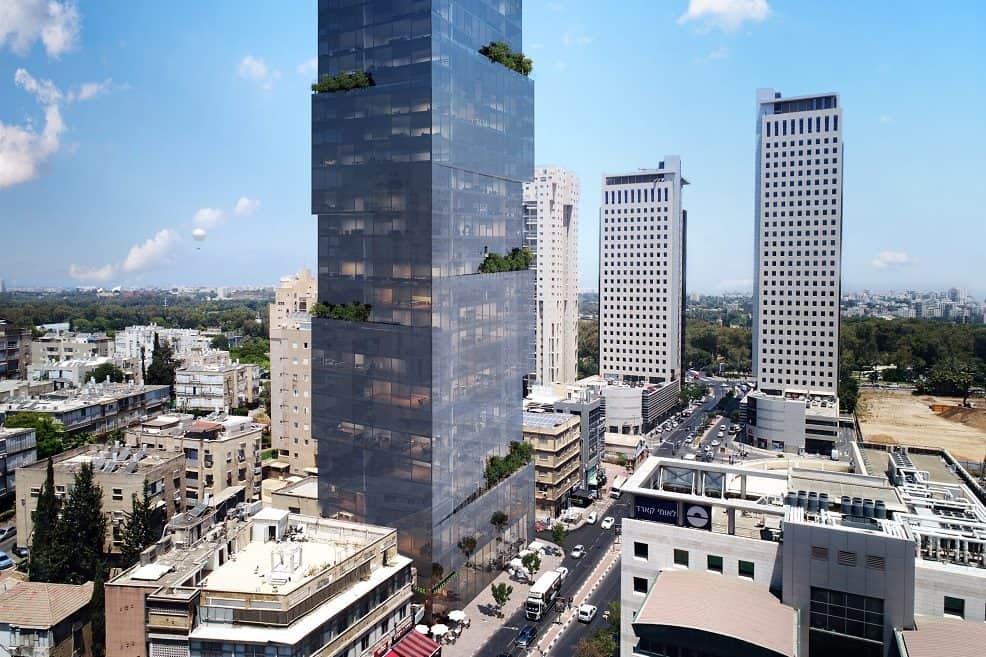 מגדל בתכנון מילוסלבסקי אדריכלים בבן גוריון // הדמייה OLIN