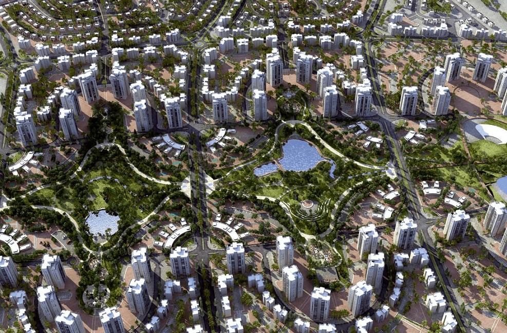 שכונת הפארק חדרה // הדמיית שכונת הפארק - חדרה // משרדי האדריכלים גיורא גור ושות', מן-שנער ופינצי רווה לונדון