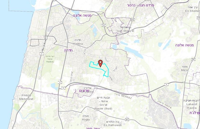 מפת תכנית הפארק מרכז חדרה