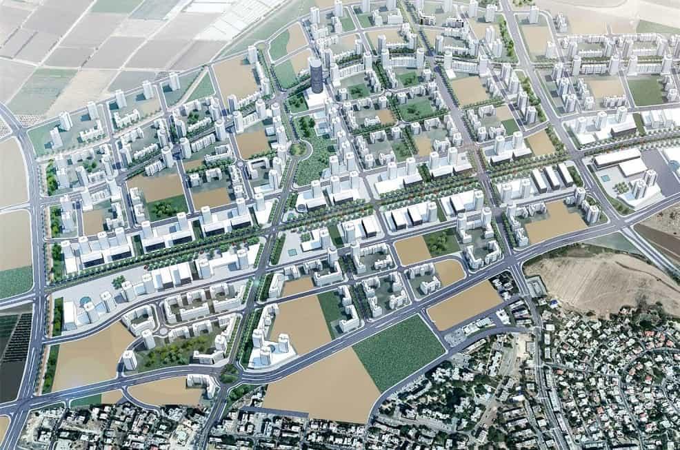 הדמיית השכונה החדשה במסגרת הסכם הגג בקריית אתא // דב קורן אדריכלים
