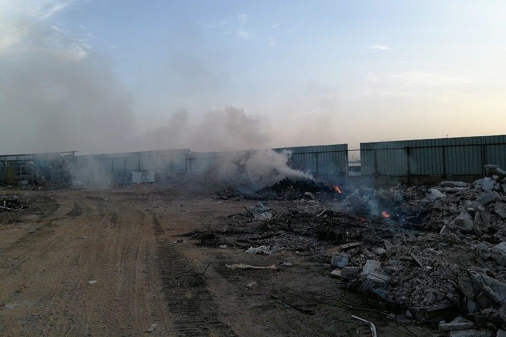 שריפת הפסולת בתחנת המעבר הפיראטית. צילום: המשרד להגנת הסביבה