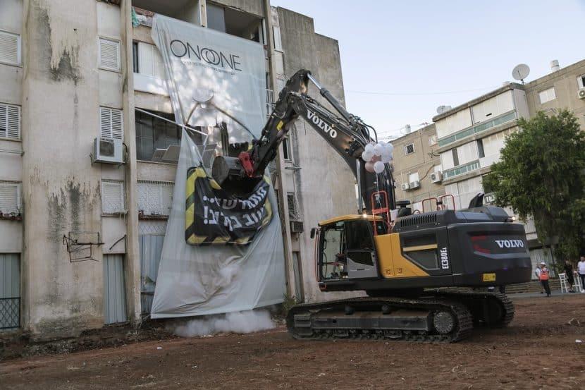 הריסת בניינים במסגרת פינוי בינוי בקריית אונו // צילום: DORON SAAR Photography