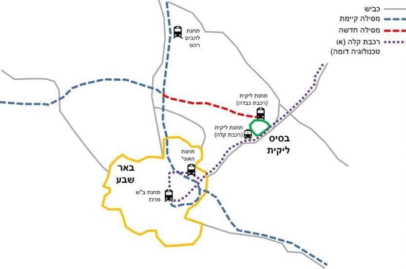 """מפה - רכבת לבסיס אמ""""ן ליקית // באדיבות דוברות משרד התחבורה"""
