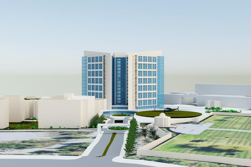 הדמיית התוכנית בית החולים הדסה הר הצופים // ספקטור-עמישר אדריכלים