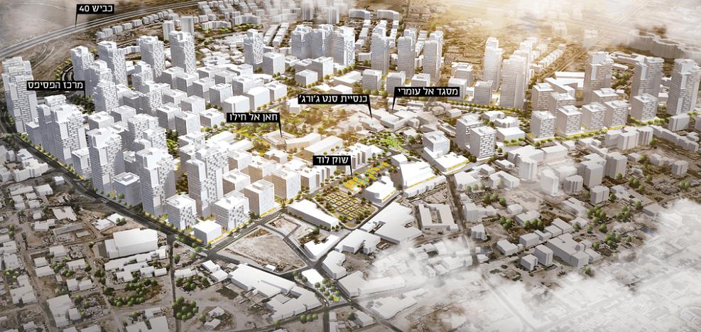 הדמיית התכנון לעיר העתיקה בלוד // דרמן ורבקל אדריכלים