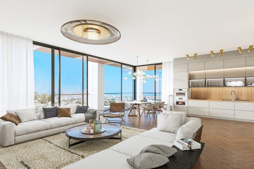 הדמיית דירת 4 חדרים בפרויקט רובע איילון של מצלאוי ונצבא ברחוב יוספטל בת ים 3 // הדמייה במבי