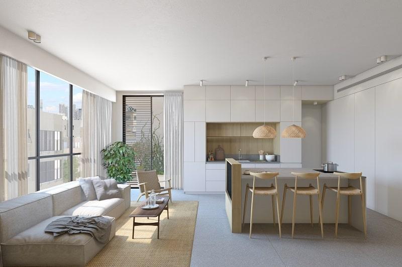 חלל מרכזי דירה בסגנון סקנדינביה תכנון אדריכלי ונגרות סטודיו XS \\ סטודיו בונסאי