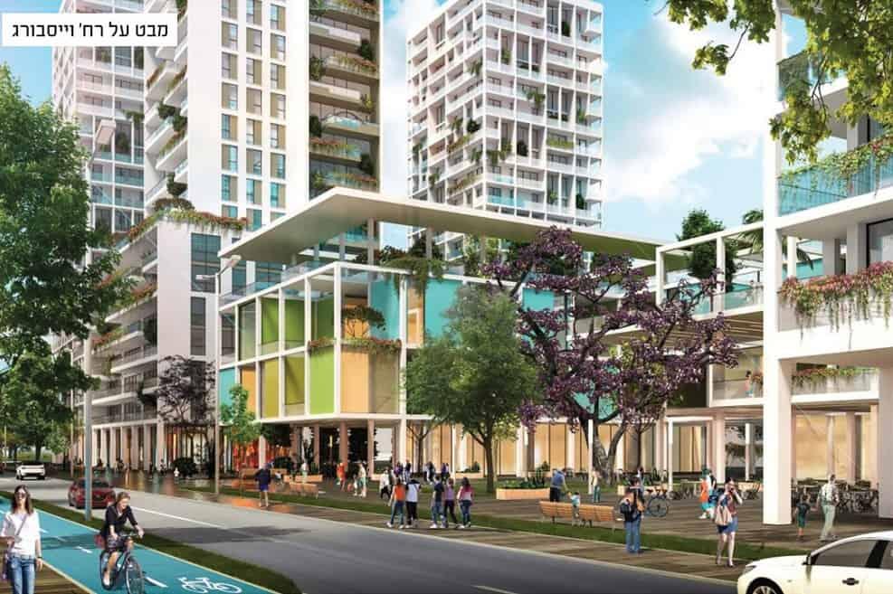מבט על רחוב וייסבורג העתידי בשכונה // בר לוי דיין אדריכלים